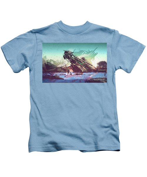 Kids T-Shirt featuring the painting Derelict Ship by Tithi Luadthong