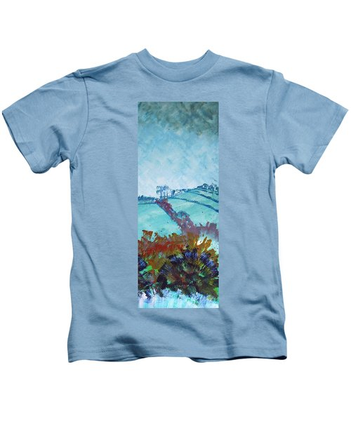 Devon Landscape Painting - Hills Near Exeter Kids T-Shirt