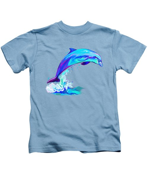Dolphin In Colors Kids T-Shirt by A