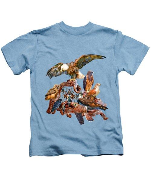 Dream Catcher - Spirit Birds Kids T-Shirt by Carol Cavalaris