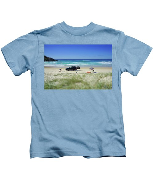 Family Day On Beach With 4wd Car  Kids T-Shirt