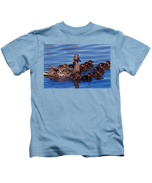 Female Mallard Duck With Chicks Kids T-Shirt