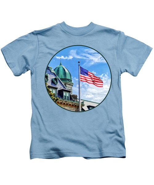 Flag Flying Over Tecumseh Court Kids T-Shirt