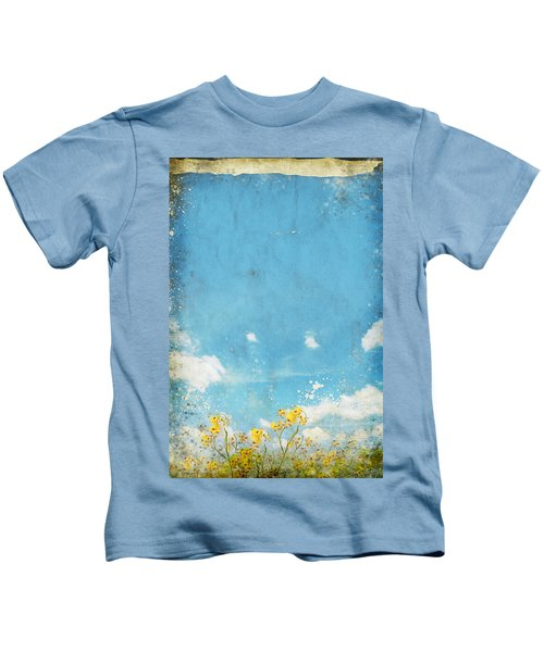 Floral In Blue Sky And Cloud Kids T-Shirt