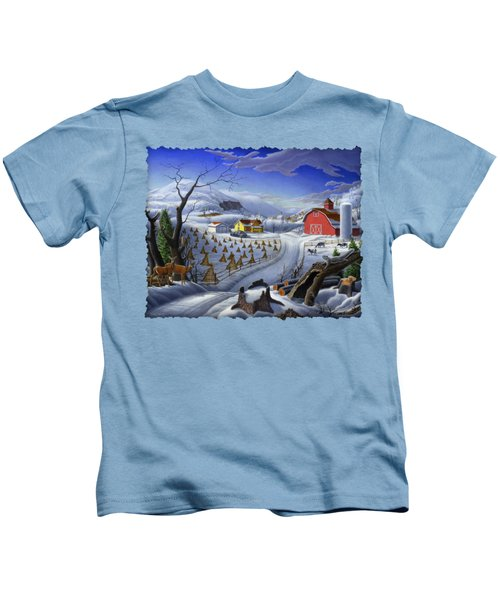 Folk Art Winter Landscape Kids T-Shirt