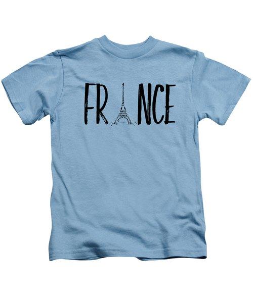 France Typography Panoramic Kids T-Shirt by Melanie Viola
