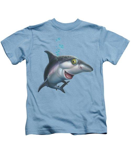 friendly Shark Cartoony cartoon under sea ocean underwater scene art print blue grey  Kids T-Shirt