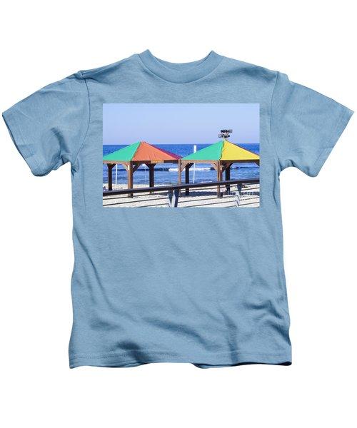 Gay Rainbow Flag Colours On A Beach In Tel Aviv Kids T-Shirt