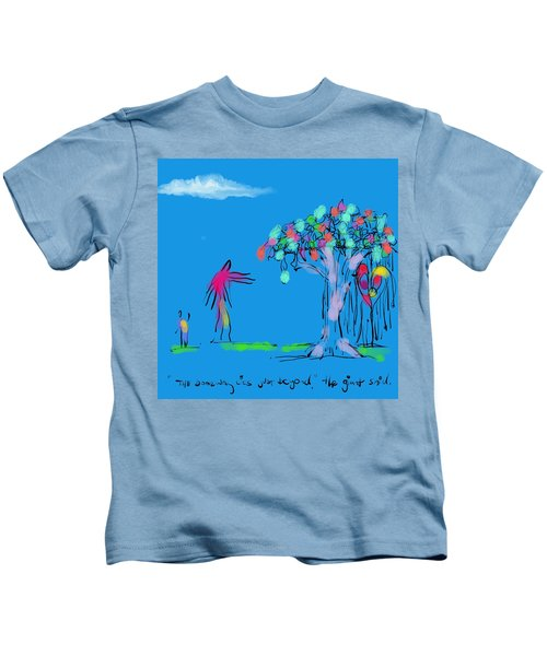 Giant, Boy, And Doorway Kids T-Shirt