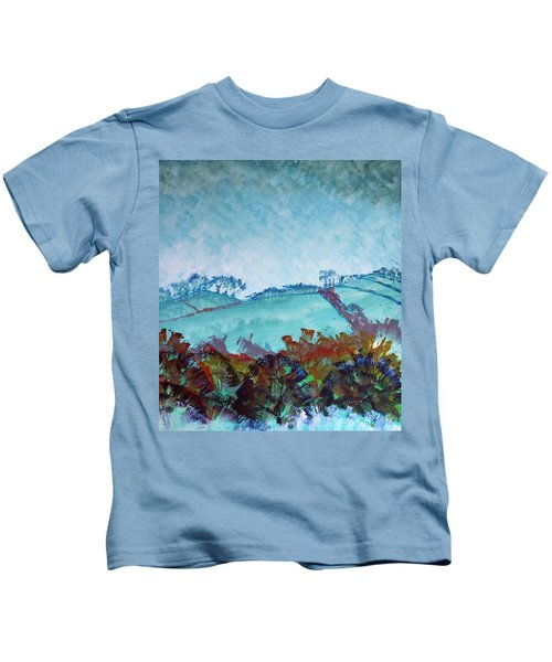 Gloomy Overcast Cloudy Day Devon Rolling Hills Kids T-Shirt