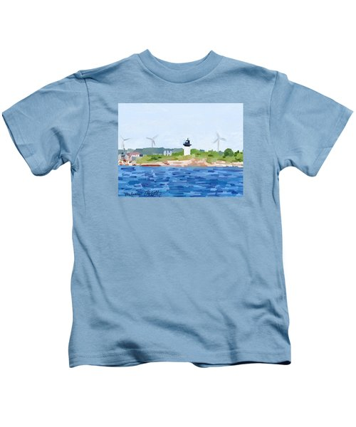Gloucester Skyline From Harbor With Windmills And Ten Pound Island Lighthouse Kids T-Shirt