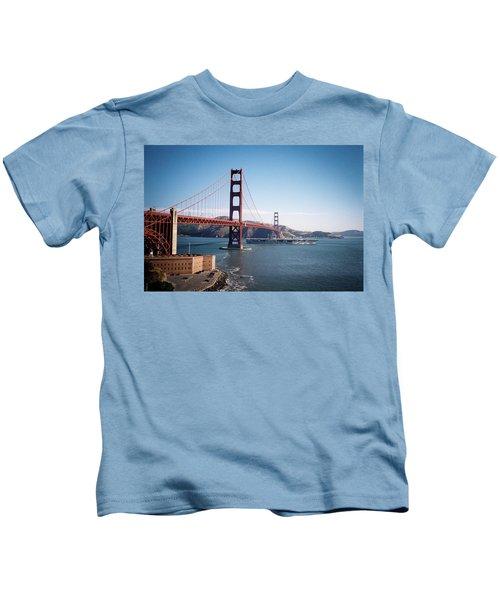 Golden Gate Bridge With Aircraft Carrier Kids T-Shirt