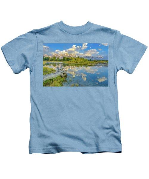 Grand Teton Riverside Morning Reflection Kids T-Shirt