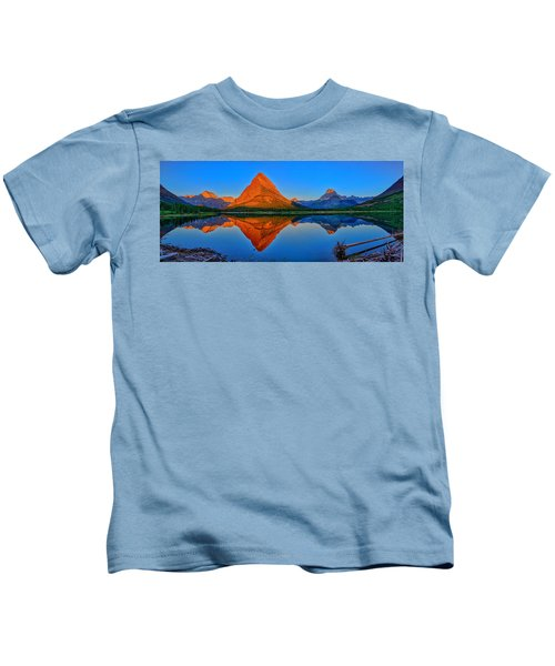 Grinnell Point Alpenglow Panorama Kids T-Shirt
