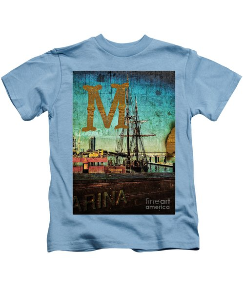 Grungy Melbourne Australia Alphabet Series Letter M Marina Dockl Kids T-Shirt