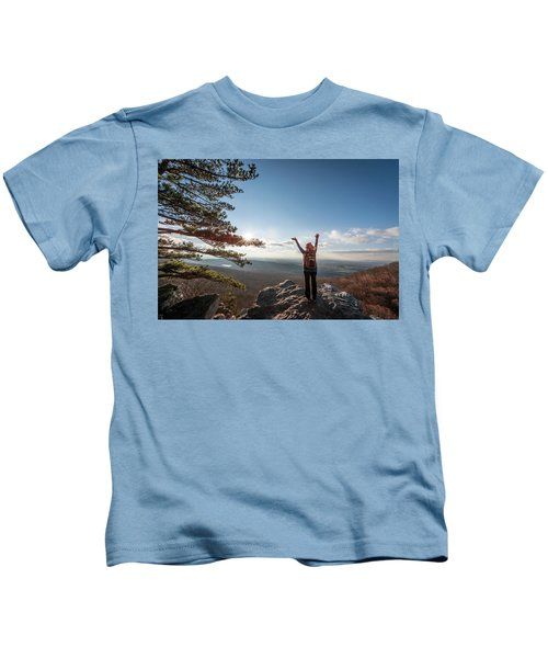 Happy Female Hiker At The Summit Of An Appalachian Mountain Kids T-Shirt