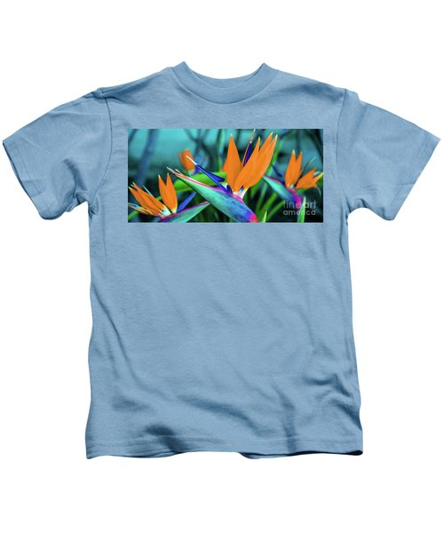 Hawaii Bird Of Paradise Flowers Kids T-Shirt