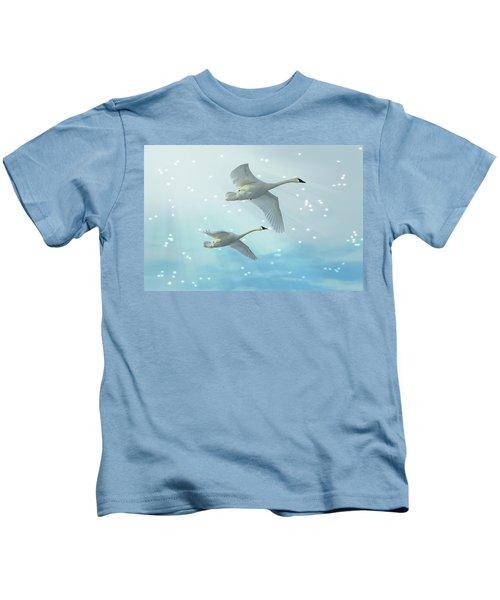 Heavenly Swan Flight Kids T-Shirt