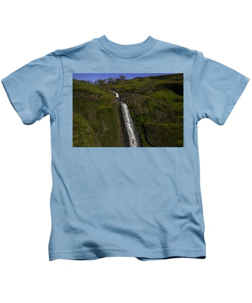 Hillside Waterfall Kids T-Shirt