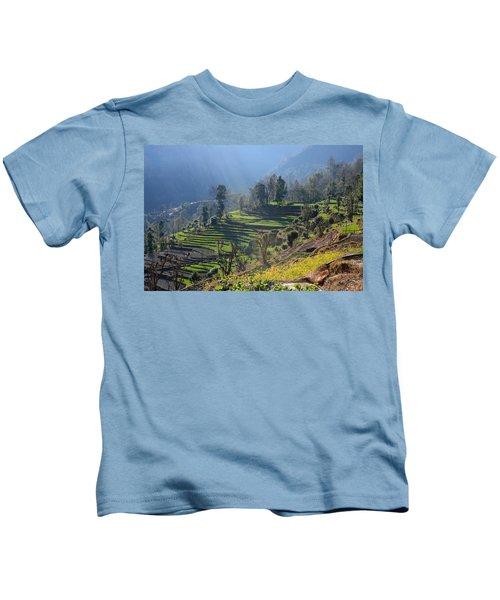 Himalayan Stepped Fields - Nepal Kids T-Shirt