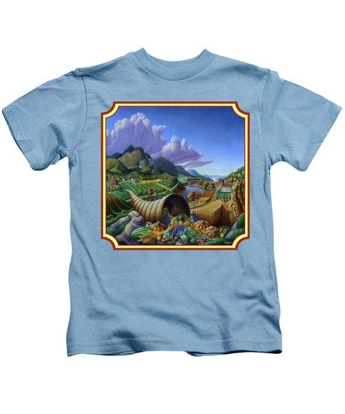 Horn Of Plenty Farm Landscape - Bountiful Harvest - Square Format Kids T-Shirt