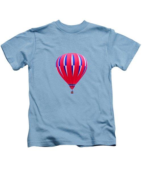 Hot Air Balloon - Red White Blue - Transparent Kids T-Shirt
