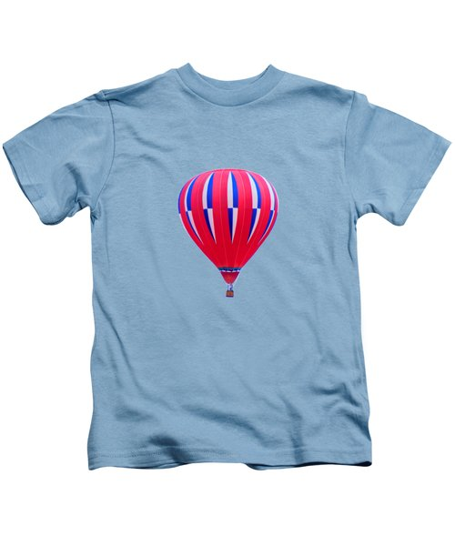Hot Air Balloon - Red White Blue - Transparent Kids T-Shirt