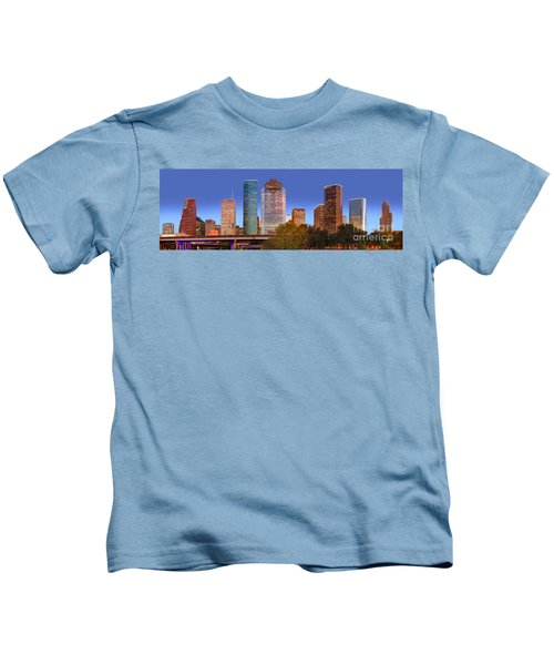 Houston Texas Skyline At Dusk Kids T-Shirt