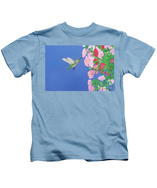 Hummingbird And Petunias Kids T-Shirt