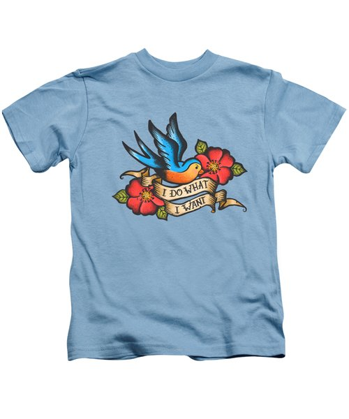 I Do What I Want Vintage Bluebird And Rose Tattoo Kids T-Shirt