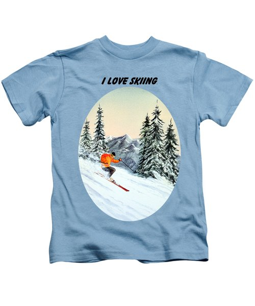 I Love Skiing  Kids T-Shirt