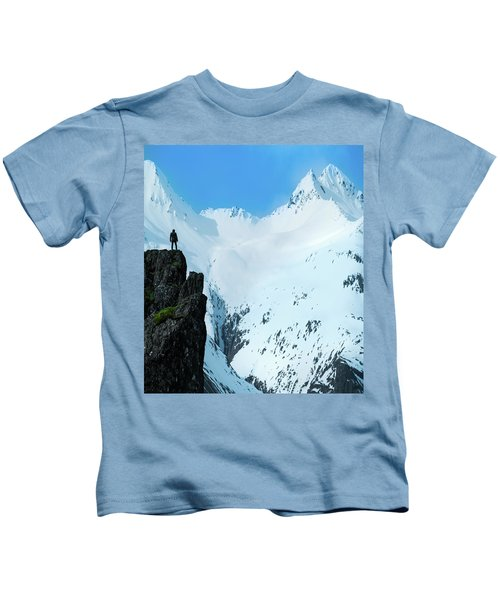Iceland Snow Covered Mountains Kids T-Shirt