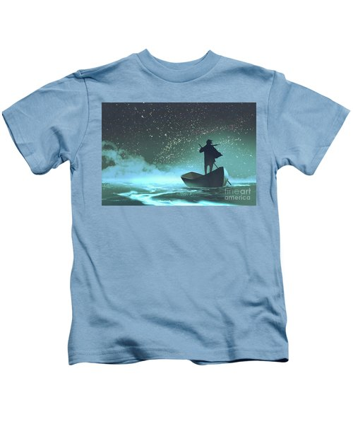 Kids T-Shirt featuring the painting Journey To The New World by Tithi Luadthong
