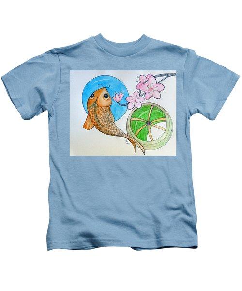 Karp And Cherry Blooms Kids T-Shirt