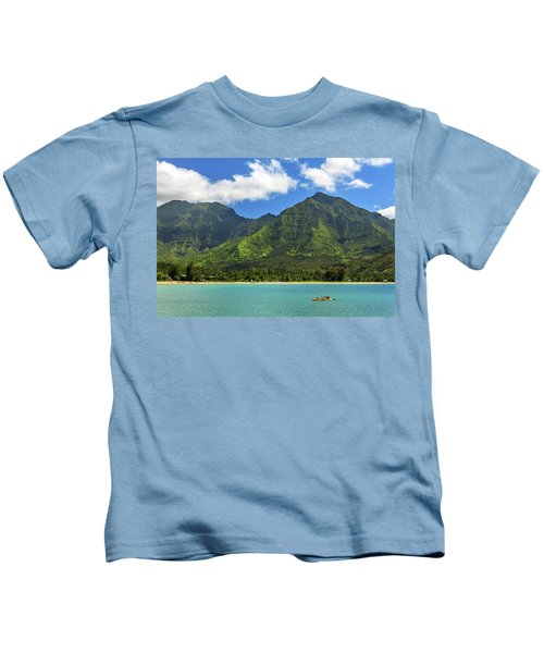 Kayaks In Hanalei Bay Kids T-Shirt