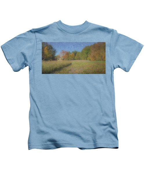 Langwater Farm With Pumpkins And Chateau Kids T-Shirt