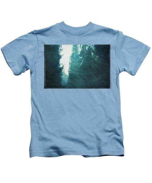 Light Coming Through Fir Trees In Mist Kids T-Shirt