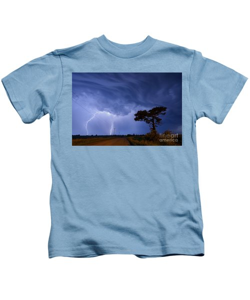 Lightning Storm On A Lonely Country Road Kids T-Shirt