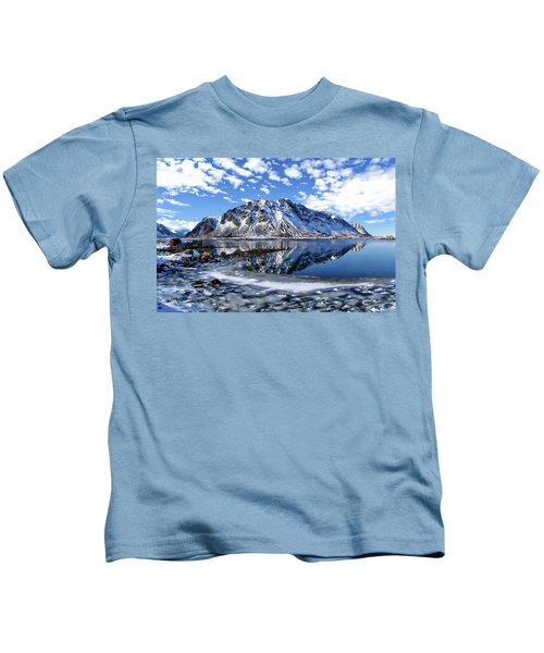 Lofoten Winter Scene Kids T-Shirt