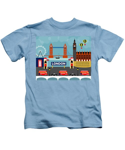 London England Horizontal Scene - Collage Kids T-Shirt