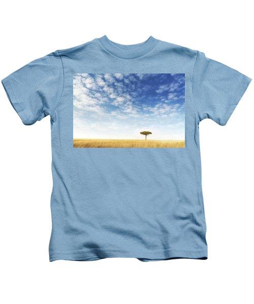 Lone Acacia Tree In The Masai Mara Kids T-Shirt