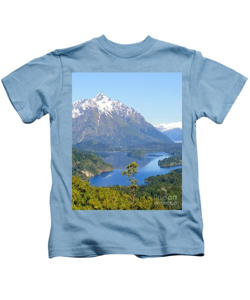 Lone Pine By Andes Mountain Lake Kids T-Shirt