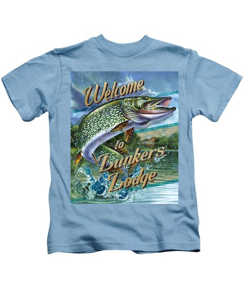 Lunkers Lodge Sign Kids T-Shirt