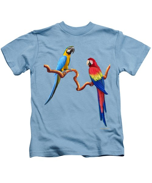 Macaw Tropical Parrots Kids T-Shirt by Glenn Holbrook