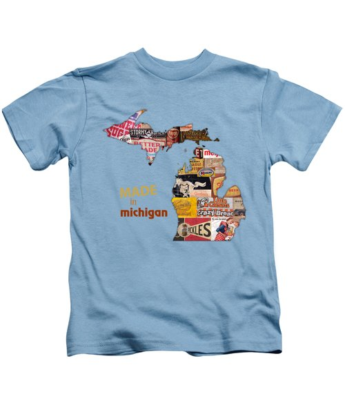 Made In Michigan Products Vintage Map On Wood Kids T-Shirt by Design Turnpike