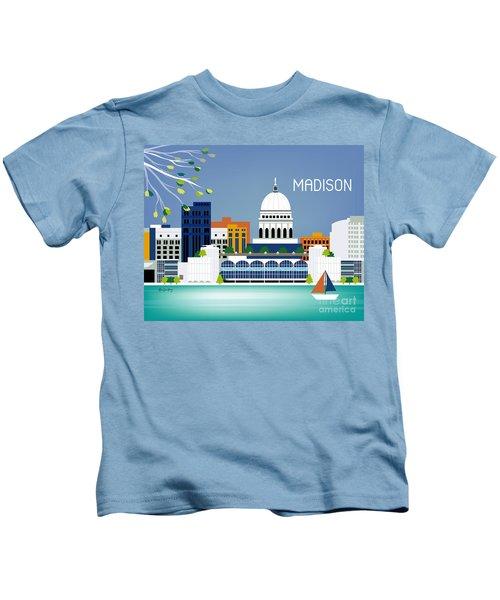 Madison Wisconsin Horizontal Skyline Kids T-Shirt