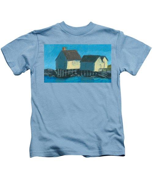 Maine Beach Fishing Shacks Kids T-Shirt