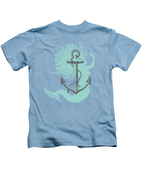 Mermaid And Anchor Kids T-Shirt by Sandra McGinley
