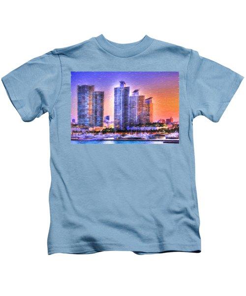 Miami Skyline Sunrise Kids T-Shirt