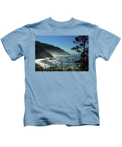 Misty Coast At Heceta Head Kids T-Shirt